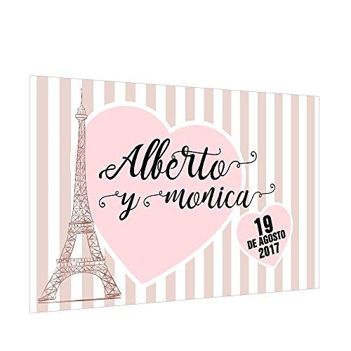 Photocall 'París' Personalizado | Decoración de boda | Material Lona con Velcro para fácil colocación (250x170cm)