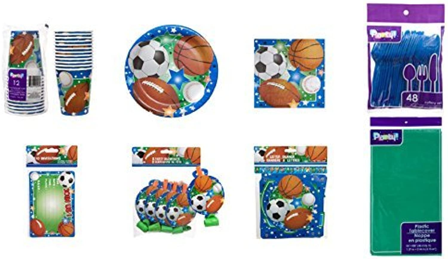 Sports Themed Party Supplies Set for 16 Guests by Party