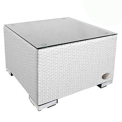 RS Trade 'Toscana' Polyrattan Beistelltisch mit verstärktem Alu-Gerüst und Temperglas Tischplatte (bis 90 kg als Hocker nutzbar), integrierte Spannbänder und höhenverstellbare Standfüße, Weiss