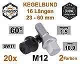 Levando 20 Stück Radschrauben M12x1,5 55mm Schaftlänge Kegel 60°SW17 – Radbolzen-Set mit 20x Radschraube in OE Qualität, für Alufelgen & Reifenwechsel, Farbe Schwarz