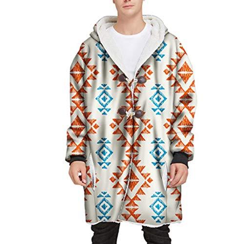 NXYJD Manta con Capucha para Adultos pulóver pulóver cálido Bolsillo de Felpa TV Abrigo de Felpa Estampado Mangas Manta con Capucha (Color : C, Size : Medium)