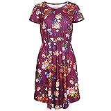 RIZ-ZOAWD Donna Vintage Abito Elegante Manica Corta Floreale Stampa Scoop Collo Elastico Vita Tasca Casual Dress Vestito Vestitini (XXL, Fiore Viola)