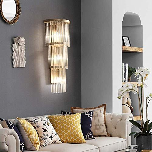 ZJN-JN - Lámpara de pared de cristal ligero para sala de estar, estilo minimalista, fondo de TV, luces de pasillo nórdico americano, 25 x 63 cm, delicado dormitorio pasillo