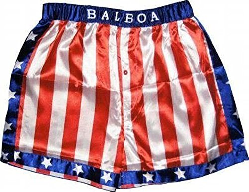 Rocky Balboa Apollo Movie Boxing American Flag Shorts (Medium)