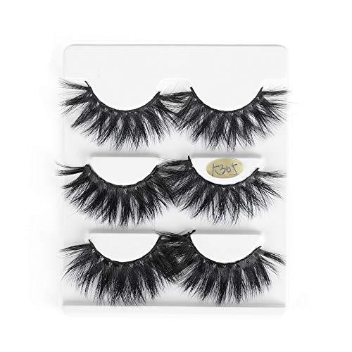 3 Paare 25mm 3D Mink falsche Wimpern Haar Dramatische Schönheit Make-up Lange Wispy Fluffy Lashes Gefälschte Lashes-Verlängerungs-Werkzeuge (K305, K305)