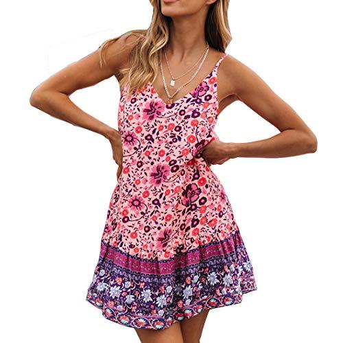 Snyemio Mujer Vestido de Verano con Estampado Floral Cuello en v para Cortos Playa Casual Mini Tops, Morado, M