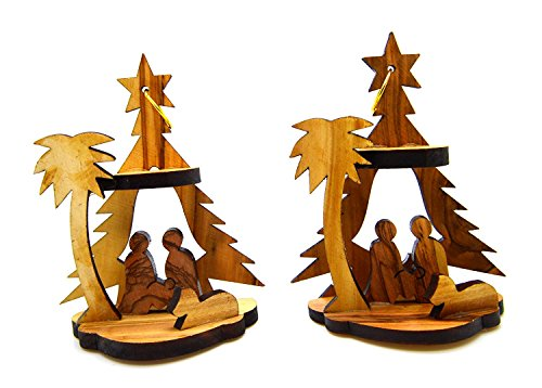 Bethlehem Olive Wood Christmas Nativity Ornaments set of 2 From Israel the Holy Land