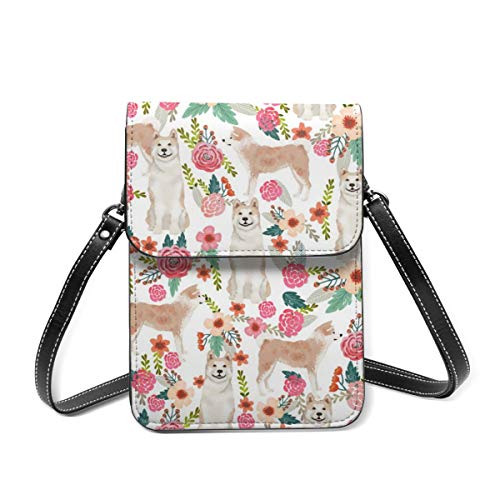 Akita - Borsa a tracolla per cellulare, motivo floreale, con fiori e fiori, colore: bianco, piccola borsa a tracolla
