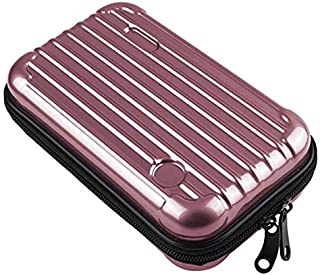PU Leather Mini Makeup Case Toiletry Handbag Travel Suitcase with Wristlet(Rose Gold)