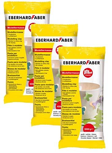 Eberhard Faber 570101 - Modelliermasse EFAPlast Classic, 1 kg, weiß (3er Pack)