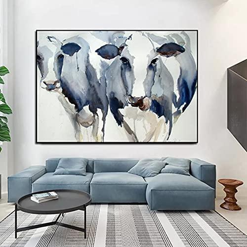 Pintura de la Lona Cuadros Decorativos Mural Carteles e Impresiones de Animales de Vaca Azul Acuarela Abstracta de Arte nórdico Moderno Pintura en Lienzo para niños Sala de Estar decoración del hogar