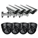 Yubi Power Security Bundle of 8 Fake Outdoor Surveillance Dummy Cameras with Blinking IR Lights – 4X YB-CA11 + 4X YB-250