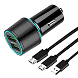 TPLTECH Quick Charge 3.0 Car Charger Dual USB Port for Samsung Galaxy S7 S6 Edge/S7 S6,J7 J3V/Prime/Crown/Sky Pro/Perx/Eclipse,Note 5 4,A6+,Kyocera DuraTR/DuraXV/Extreme LTE/Cadence,5Ft Micro USB Cord
