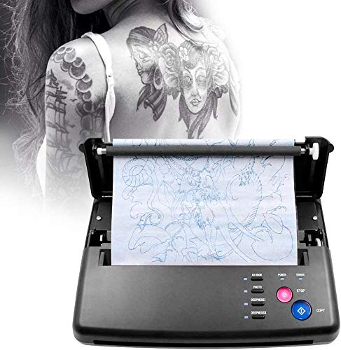 Kacsoo Máquina de transferencia de tatuajes Impresora térmica portátil profesional para tatuajes con 10 piezas de papel de transferencia térmica y 500 patrones digitales