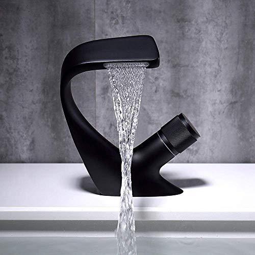 Grifo de lavabo Grifo de lavabo de cobre completo en caliente y frío Grifo de lavabo de baño Lavabo de lavabo Grifo de cascada (Color: Negro)
