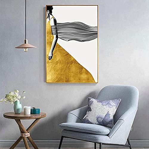 Vestido amarillo abstracto impreso en HD chica hermosa espalda sexy arte de pared de moda sala de estar póster impreso de estilo nórdico 30x50 cm sin marco