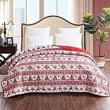 ADGAI Weihnachten Wirft Gesteppte Bettdecke Thema Weihnachten Rentier Schneeflocke-Muster Rot Weiß Festival Quilting Bettüberwürfe Bettdecken aus weicher Baumwolle mit Dekor 220x220cm