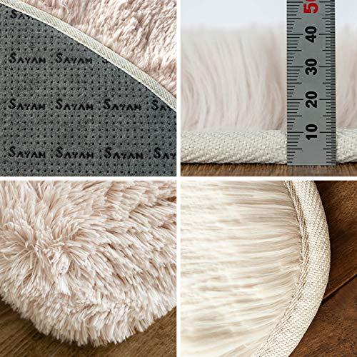 サヤンサヤンエクセレントムーティーⅡ洗えるシャギーラグ円形直径95ベージュおしゃれ