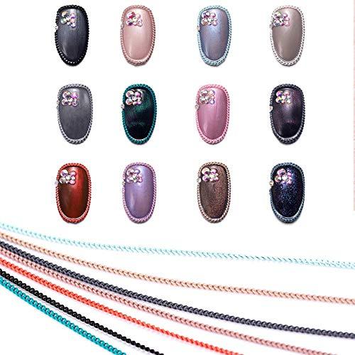 Chaînes à ongles 12 pcs chaîne en métal autocollant à ongles DIY 3D Nail Art décoration chaînes pour chaîne à ongles