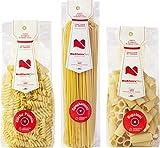 MediterraNeo - Pasta de sémola de trigo duro 100% italiana, pasta de bronce y secado lento (3 paquetes de 350 g: 1 de spaghettoni, 1 de rigatoni y 1 de hélices)
