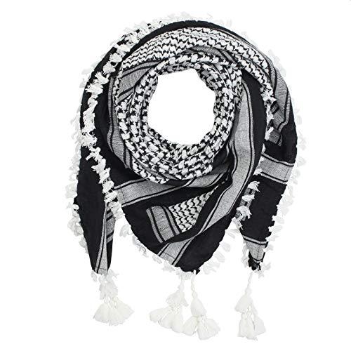 Superfreak Palituch Desert premium - schwarz - weiß - Fransen & Toddeln weiß - 100x100 cm - Pali Palästinenser Arafat Tuch - 100{1e397ba6feae195c40726ac1b7a137382e55a7548f1b9af74ef9ff2af0b78303} Baumwolle