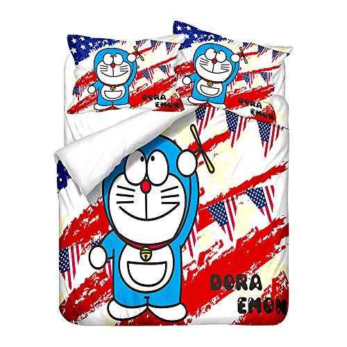 Probuk Doraemon - Juego de ropa de cama de microfibra, diseño de anime, funda nórdica para niños y niñas, con funda de almohada (A-03,135 x 200 cm (50 x 75 cm)