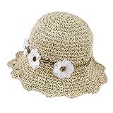 Sombrero de Paja Niñas Anti UV Gorra de Sol Chica de Playa con Flores para...