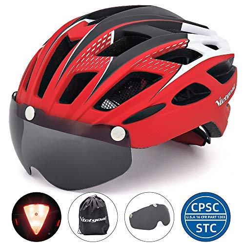 VICTGOAL Fahrradhelm Herren Damen Erwachsene Fahrrad Zyklus Helm Magnetischer Visier-Schutzbrille mit LED-Rücklicht 57-61 cm (Red)