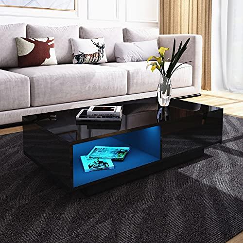Senvoziii LED Table de Salon Moderne et élégante avec 1 Tiroirs de Stockage 1 Cas Ouverts Table Basse Brillant Blanche, Table de Canapé pour Le Salon 95 x 55 x 31 cm (Noir)