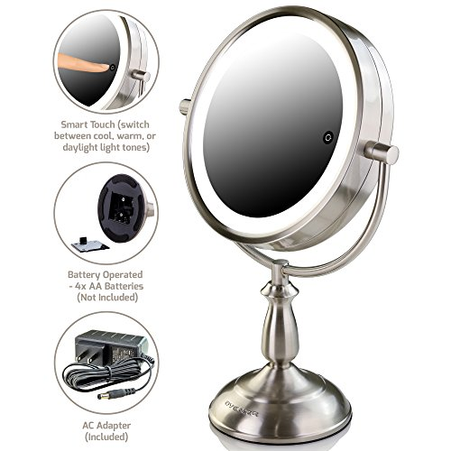 Ovente Tabletop Makeup Vanity Mirror 10X Magnification and 3 Tones LED Light of Cool, Warm & Daylight, Double-Sided with Distortion-Free View, Nickel Brushed (MPT75BR1X10X)