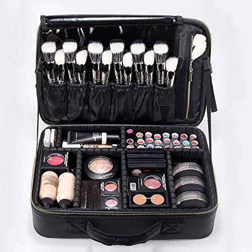 "ROWNYEON Makeup Case Travel Makeup Bag Train Case Professional Portable Cosmetic Makeup Brushes Organizer Case Cosmetic Storage Bag for Women EVA Adjustable Dividers 14.1"" Medium Black"