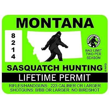 "RDW Montana Sasquatch Hunting Permit - Color Sticker - Decal - Die Cut - Size: 4.00"" x 3.00"""