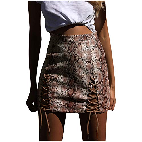 SSMENG Womens Skirts Summer,Sexy High Waist Lace Up Bodycon Faux Suede Split Tight Mini Skirt Womens Skirts Knee Length Coffee