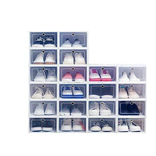 WUPYI2018 Caja de almacenamiento de zapatos de plástico, 20 cajas transparentes para zapatos, caja de almacenamiento, juego de cajón, apilable