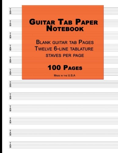 Guitar Tab Paper: Orange Cover ,Blank guitar tab paper Notebook featuring twelve 6-line tablature staves per page with a 'TAB' clef, 8.5 x 11, Durable Cover, Perfect Binding