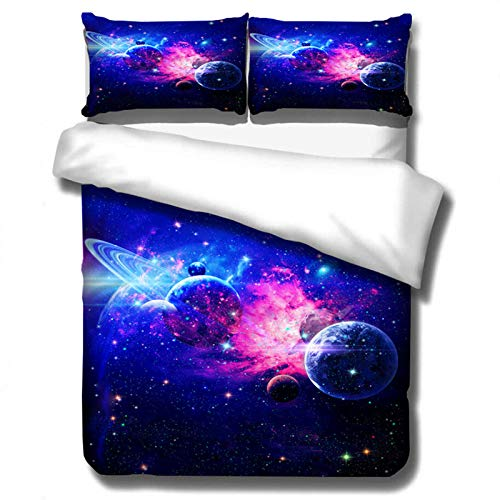 Bedding Set Duvet Set 3D Dreamy Blue Purple Starry Sky Galaxy Print Duvet Cover with Pillowcases (Colour 1,200 × 200 cm)