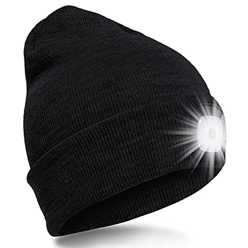 SPGOOD LED Bonnet Tricotés Hommes Femmes 4 LED Chapeaux USB Rechargeables avec 3 Modes de Lumière Mains Libres Cadeau De Noël pour Camping,Promenade des Chiens,Course, Alpinisme,Pêche De Nuit(Noir)