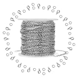 WXJ13 Silver Stainless Steel Cable Chain Brand 11m 36FT Jewelry Making Chains with 20 Lobster Clasps and 30...