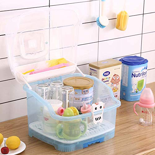 CWBB Babyflaschenabtropfgestelle Mit Praktischer Auffangschale Für,Blue