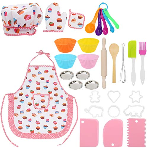 Jellydog Toy 31PCS  Kids Cooking and Baking Set, Kids Chef Costume Playing Cooking Baking Set, Cupcake and Cookie Tools Cooking Set for Girls,Dress up Pretend Play Cooking Toy Set for Girls 3 Years +