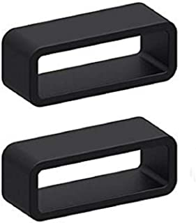 2X Size 18mm Black Rubber Silicone Leather Rubber Replacement Watch Band Strap Loops Keeper Hoop Buckle ratainer