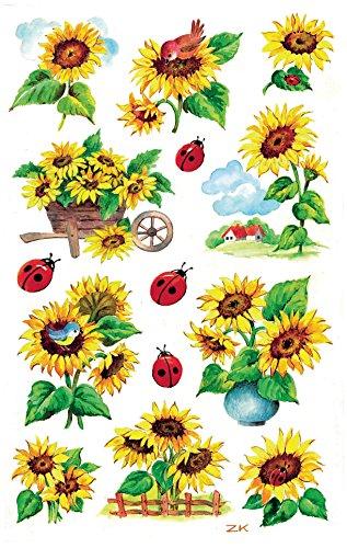 AVERY Zweckform 54171 Deko (Sonnenblumen Papiermaterial mit Glitzer) 2 Bögen, 28 Sticker
