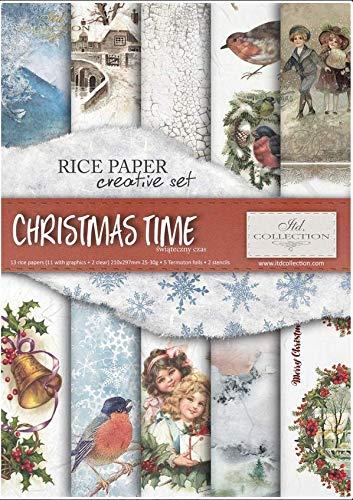 ITD Collection - Carta di Riso Set Creativo A4, Decoupage Scrapbooking, 29,7 x 21 cm Multicolore (Christmas Time)