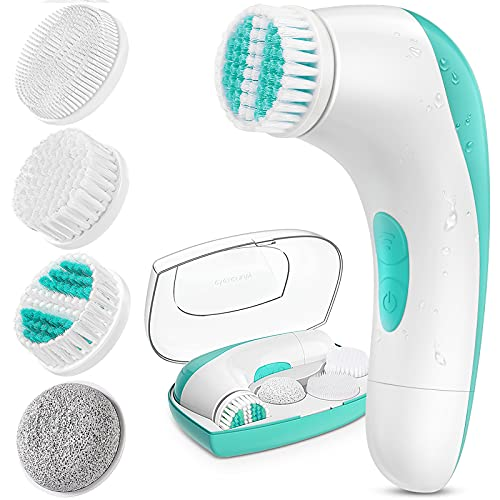 【2021 Upgraded】ETEREAUTY Facial Cleansing Brush, Waterproof Face Brush with 4 Brush Heads and a Protective Case - Deep Cleansing, Gentle Exfoliating, Removing Blackhead for Face and Body, Cyan