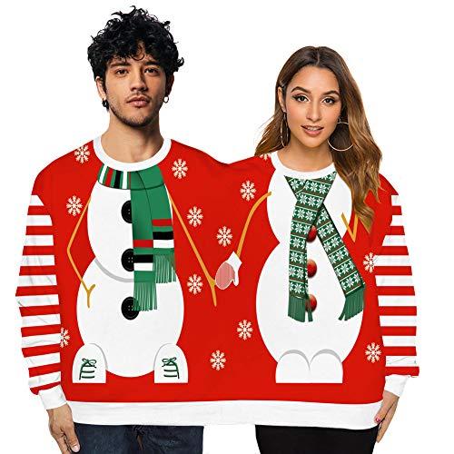 CHIYEEE Brutta Coppia di Natale Felpa Maglione Due Persone Unisex Pullover novità Camicetta Natalizia Camicia Collo Pullover Top