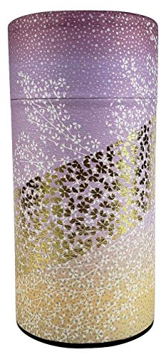Japanese tea canister tin Oboro / Yuzen paper / double lid / air-tight / 200g tea capacity