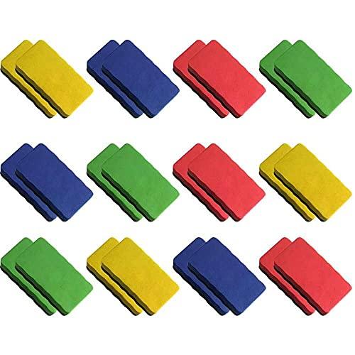 YuKeShop Borrador de pizarra magnético seco, 24 unidades de borrador sin polvo de gran tamaño pizarra borrador seco, suministros escolares, borrador de tiza de acera
