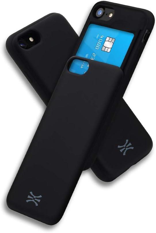 TORU CX Slide Compatible with iPhone SE 2020/iPhone 8/iPhone 7 Card Case - Protective TPU Bumper & Hard Cover Dual Layer Slim Hidden Card Holder Slot Wallet - Matte Black