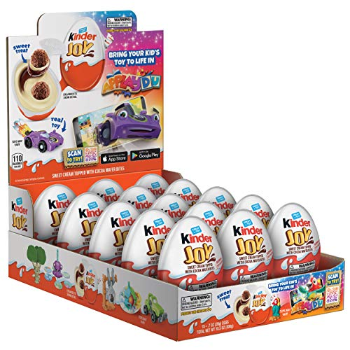 Kinder JOY Eggs, 15 Count, Individually Wrapped Bulk Chocolate Candy Eggs With Toys Inside & Applaydu: Kids Games by Kinder, Perfect Surprise for Kids, 10.5 oz, PACKAGING MAY VARY