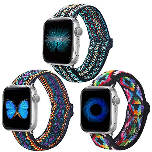 Dsytom Adjustable 3 Pack Elastic Band Compatible with Apple Watch Bands 42mm 44mm Stretchy Leopard Pattern Soft Strap Women Replacement Wristband for iWatch Series SE/6/5/4/3/2/1 bands